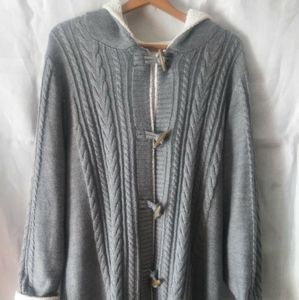 LL Bean 3/4 Lgth Cable Hoodie lined Sweater